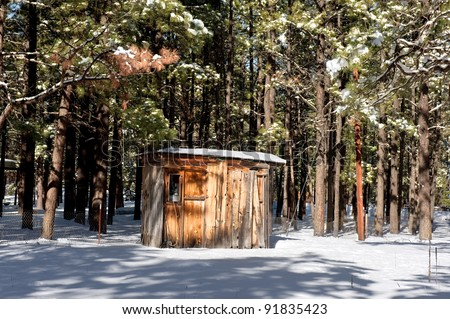 A small cabin shack buried in the wilderness trees surrounded by snow. - stock photo