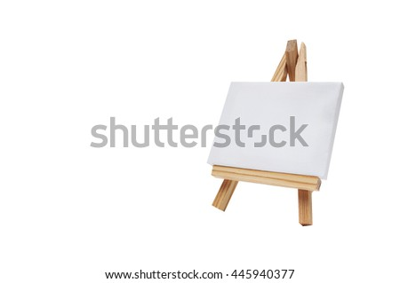 a small canvas and easel on a white background