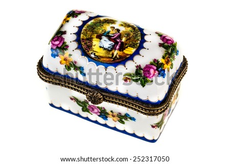 a small casket or pill box isolated over a white background - stock photo