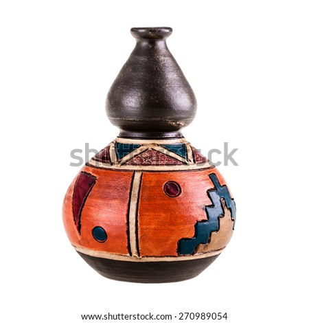 a small ceramic mexican pot isolated over a white background - stock photo