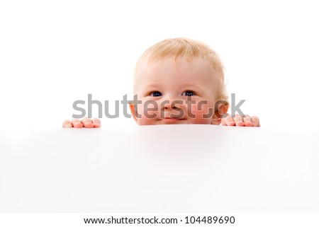 A small child Peeps isolated on white background - stock photo