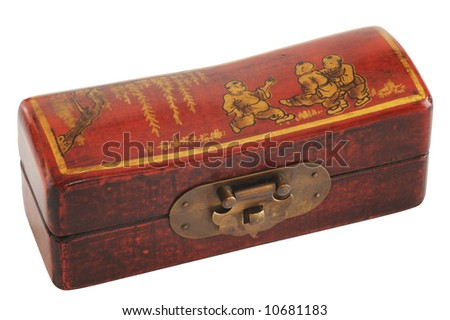 A small Chinese varnished chest isolated on white - stock photo