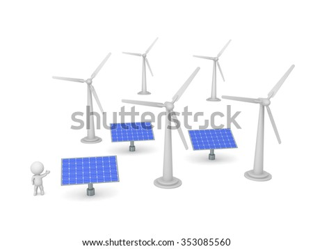 A small 3D character showing several solar panels and wind turbines. Isolated on white background.