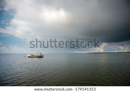 A small fishing boat in Baltic sea near Saaremaa island, Estonia
