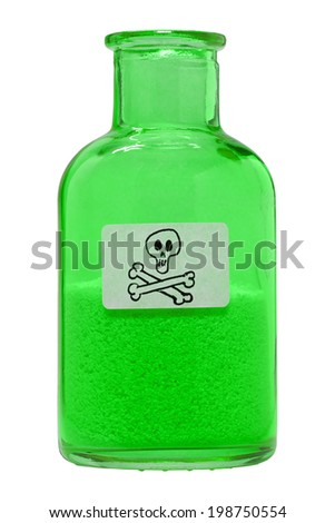 A small glass bottle with toxic contents. - stock photo