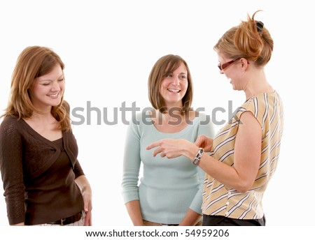 A small group of friends laughing and talking - stock photo