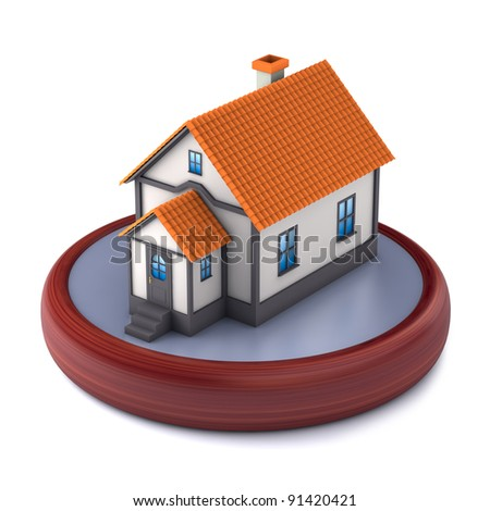 A small house in a souvenir style on a white background. 3D illustration - stock photo