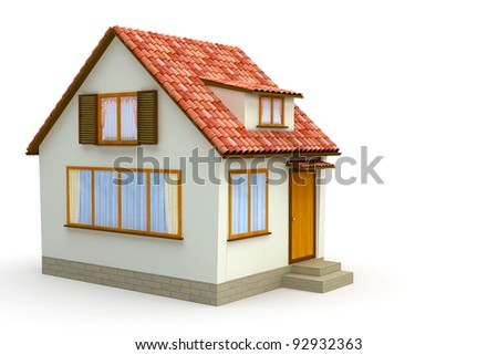 A small house  on a white background - stock photo