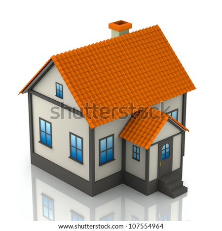 A small house on a white background. 3D render - stock photo