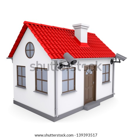A small house with security cameras. Isolated render on a white background