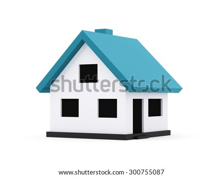 A small houses business icon with blue roof on a white background