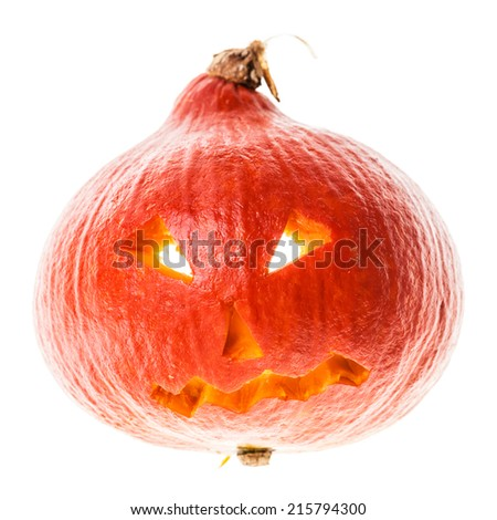 a small Jack-o'-lantern halloween decoration isolated over a white background - stock photo