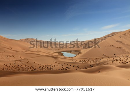 A small mineral lake in the middle of desert