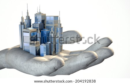 A small modern looking city nestled in the palm of an open hard hand on an isolated white background