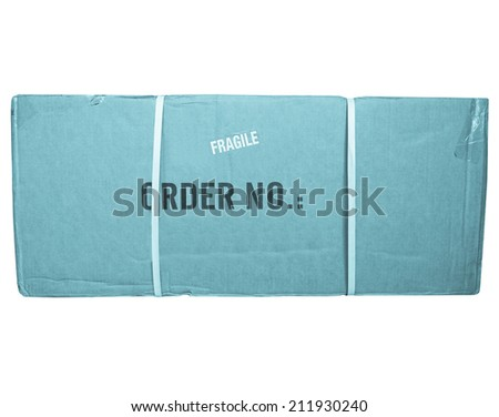 A small packet or parcel for mail shipping isolated over white - cool cyanotype - stock photo