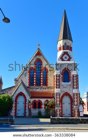 A small red and white historic church in Fremantle, Western Australia