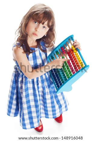 a small school is expecting a child abacus - stock photo