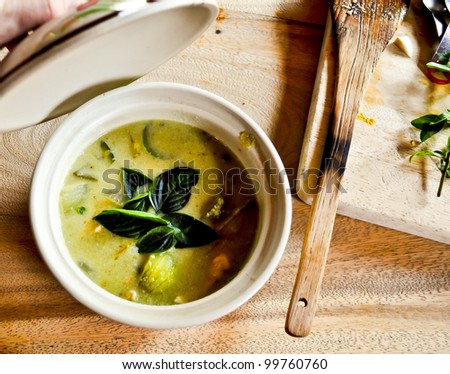 A small spicey green curry dish cooked at a cooking school in Thailand - stock photo