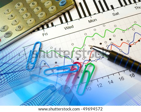 A small still-life about financial accounting - collage. - stock photo