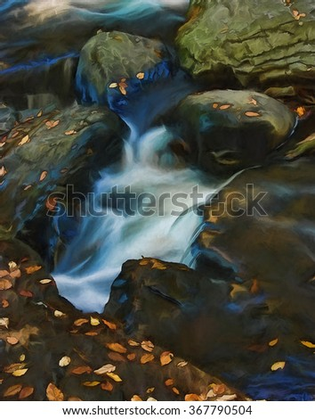 A small stream waterfall in autumn - located in the Poconos of Pennsylvania, transformed into a colorful painting - stock photo