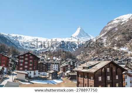 A small switzerland village near Matterhorn  - stock photo