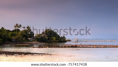 A small Thai village wit ha wooden jetty near the ocean in Trat Province, east Thailand