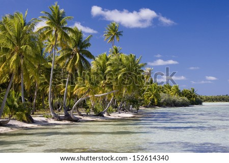A small tropical island in Aitutaki Lagoon in the Cook Islands in the South Pacific. - stock photo