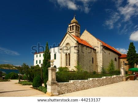 A small, village church located in Dalmatia, Croatia. - stock photo