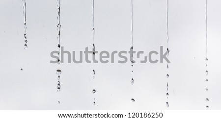 A small water drop falling from the roof in the rain - Venezuela - stock photo