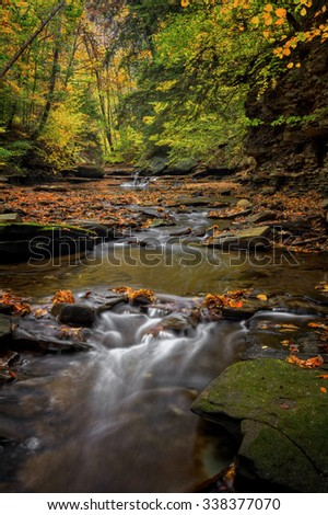 A small waterfall on Brandywine Creek in Cuyahoga Valley National Park Ohio.  Seen here in autumn with colorful fallen leaves. - stock photo