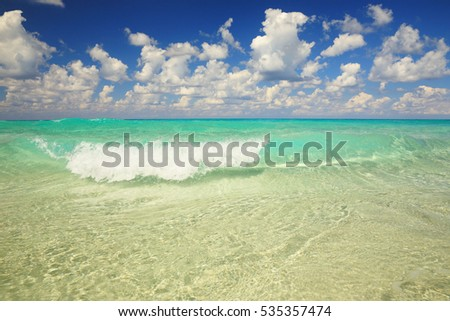 A small wave of clear water of Atlantic ocean resort