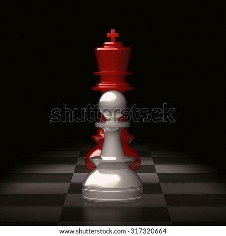 A small white chess pawn in front of a red king on chess board.