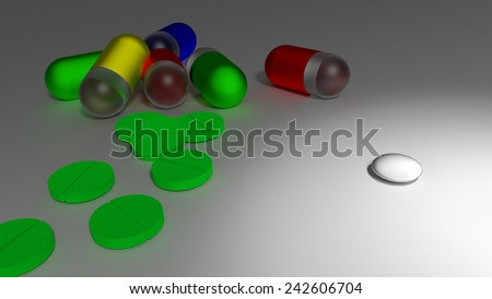 A small white pill as replacement for many big and colorful medicaments. - stock photo