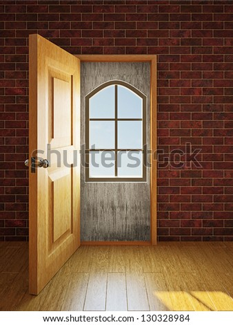 A small window in the large doorway - stock photo