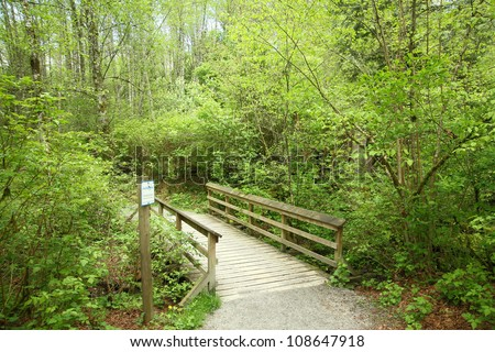 a small wood bridge in the park - stock photo