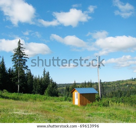 a small wooden shed with a metal roof next to an old power pole in a green meadow fringed with spruce trees on a nice summer day with a bright blue sky and puffy clouds
