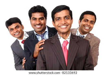 A smart Indian business team isolated on white. - stock photo