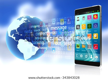 A smart phone connected to the internet downloading and sharing digital content and application software - stock photo
