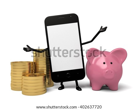 A smartphone and a piggy bank