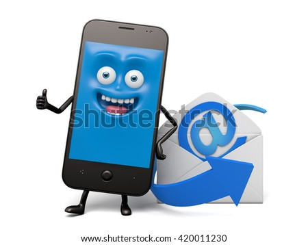 A smartphone and an email