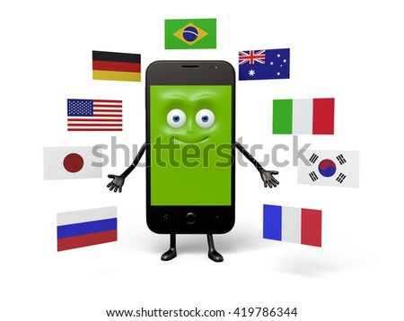 A smartphone has a lot of different national flags