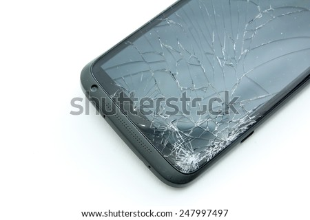A smartphone with cracked screen isolated