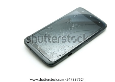 A smartphone with cracked screen isolated - stock photo