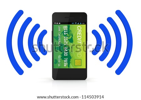 A smartphone with Near Field Communication (NFC) displaying a green world credit card on the front of the screen
