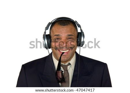 a smiling African-American mature man with headphones and sunglasses, isolated on white background - stock photo