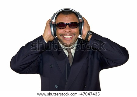 a smiling African-American mature man with headphones and sunglasses, isolated on white background