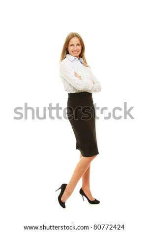 A smiling business woman isolated on white background - stock photo