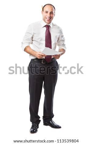 a smiling businessman with papers and a pencil - stock photo