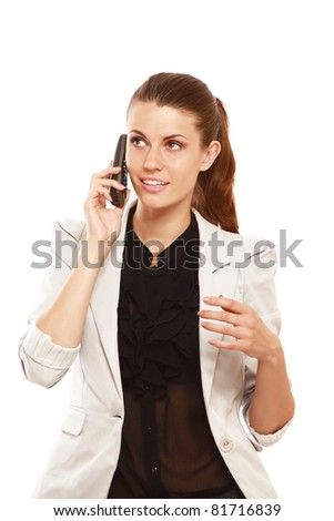 A smiling businesswoman talking on phone, isolated on white