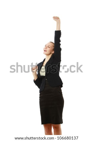 A smiling businesswoman with hands up, isolated on white background